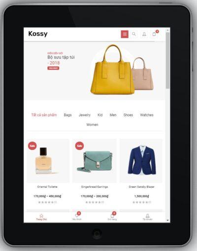 Mẫu Website Bán Hàng Thời Trang – BH3 hiển thị trên màn hình tablet