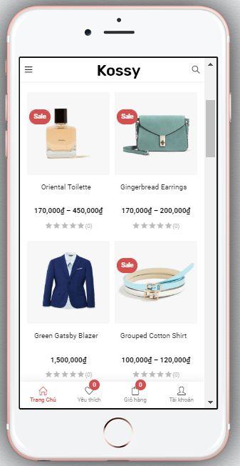 Mẫu Website Bán Hàng Thời Trang – BH3 hiển thị trên màn hình điện thoại