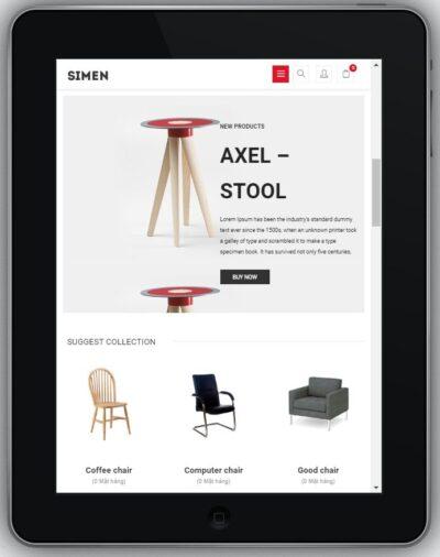 Mẫu Website Bán Hàng Nội Thất – BH4 hiển thị trên màn hình tablet