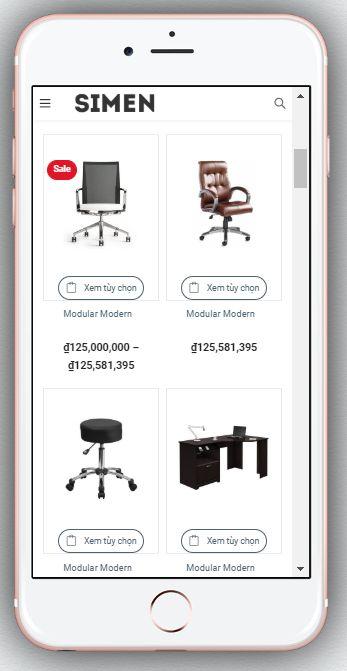 Mẫu Website Bán Hàng Nội Thất – BH4 thể hiện trên màn hình điện thoại