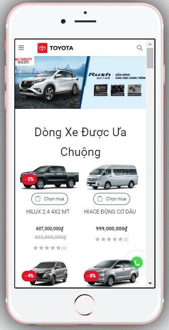 Mẫu Website Bán Ô Tô Toyota – BH5 hiển thị trên màn hình điện thoại