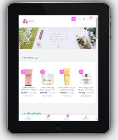 Mẫu Website Shop Bán Mỹ Phẩm – BH6 hiển thị trên màn hình tablet