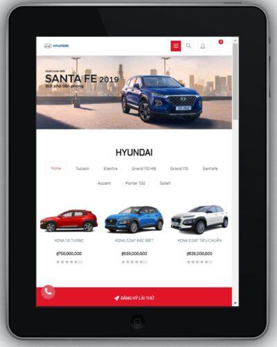 Mẫu Website Bán Ô Tô Hyundai – BH8 hiển thị trên màn hinh tablet