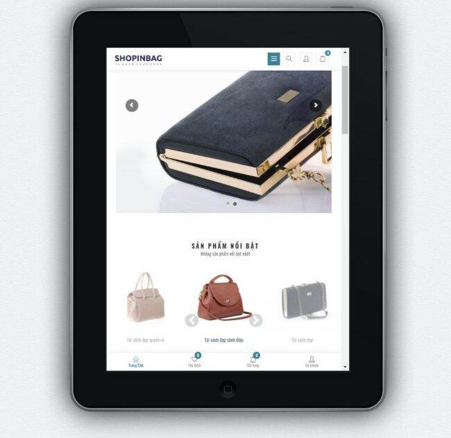 Mẫu website kinh doanh túi xách & phụ kiện thời trang – BH9 hiển thỉ trên màn hình tablet