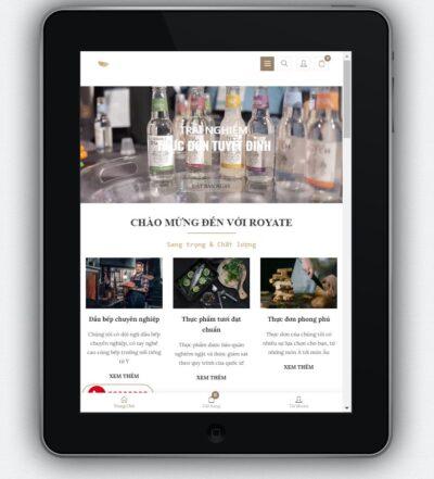 Mẫu website nhà hàng nh1 hiển thị trên màn hình điện thoại